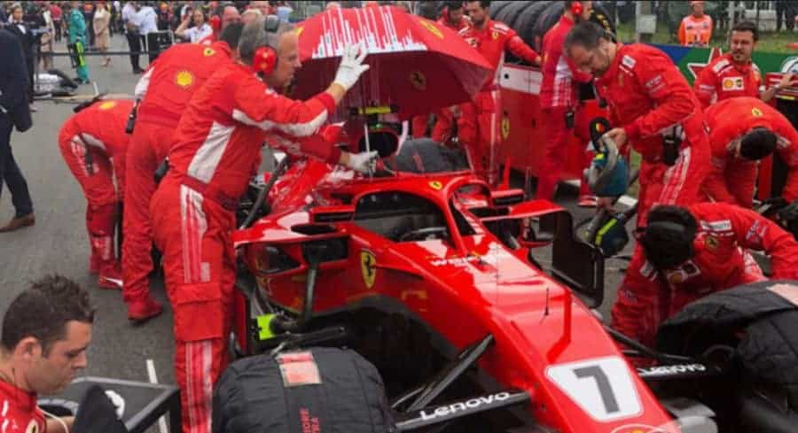 Ferrari SF71H umbrella grid F1 2018 Photo Ferrari