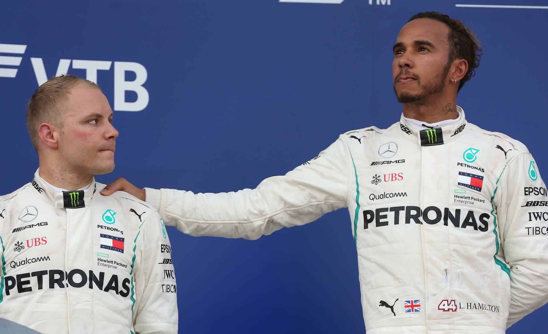 Hamilton Bottas Mercedes Russian GP F1 2018 after the race podium Photo Daimler