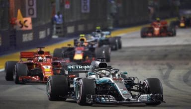 Hamilton leads Vettel Verstappen Bottas Raikkonen Singapore GP F1 2018 Photo Daimler