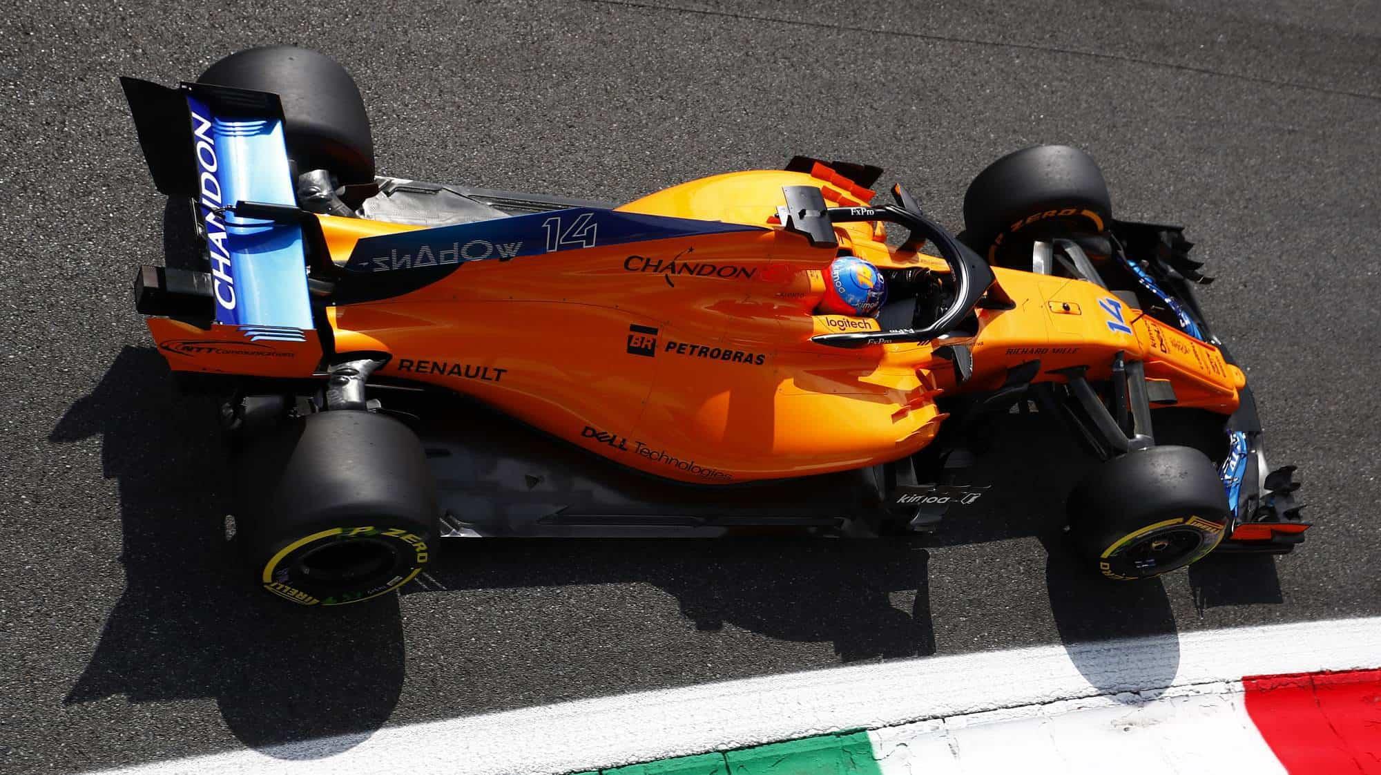 McLaren MCL33 rear wing rear end Parabolica Italian GP F1 2018 low downforce Photo McLaren