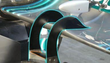 Mercedes W09 Russian GP F1 2018 rear wing double pillars support swan neck Photo AMuS