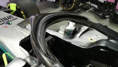 Mercedes W09 Singapore F1 2018 new halo protection aero cover triple winglets