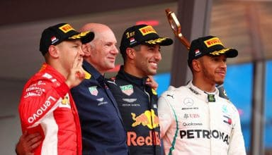 Monaco GP F1 2018 podium Vettel Newey Ricciardo Hamilton Photo Red Bull