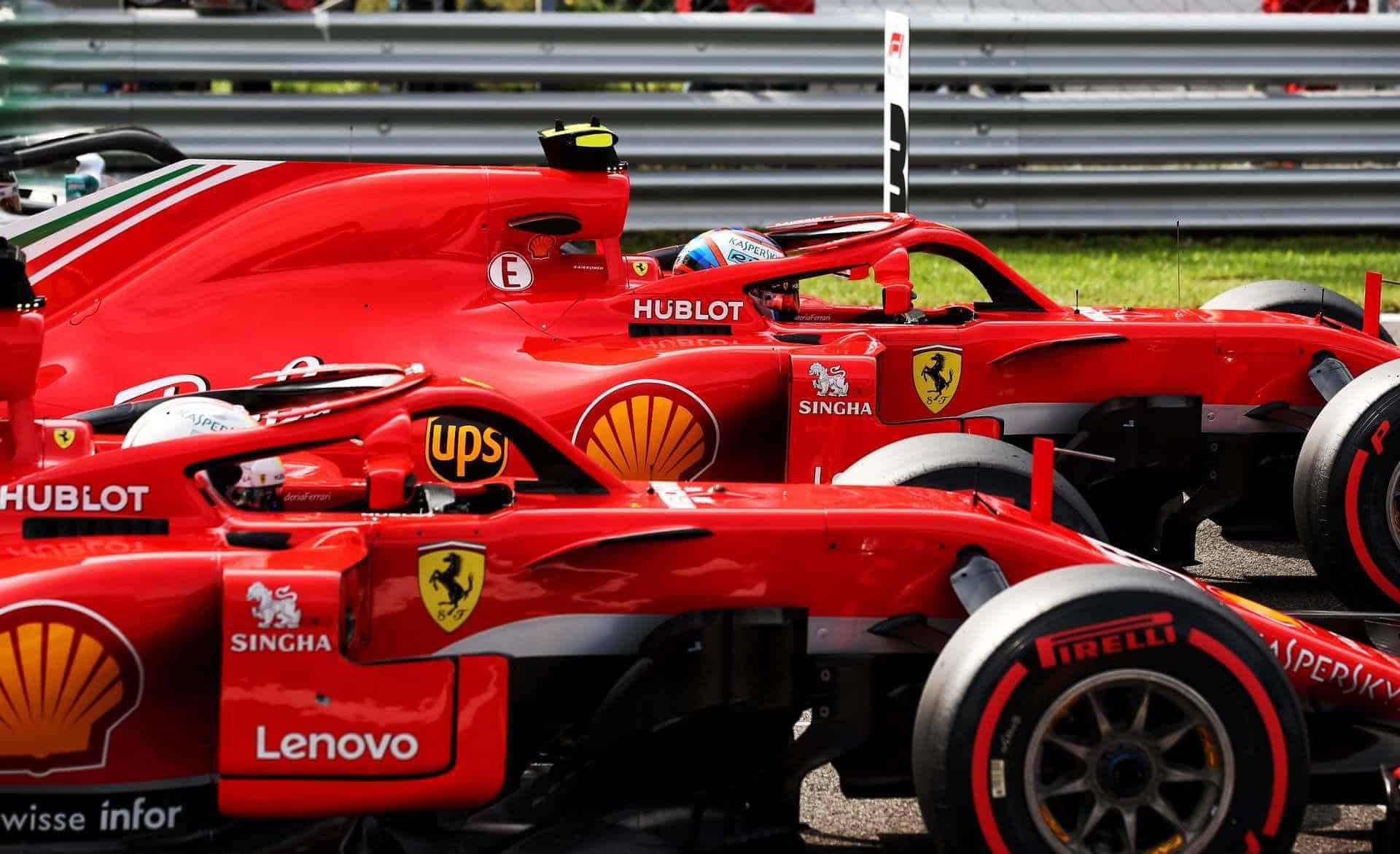 Raikkonen Vettel Ferrari Ferrari SF71H Italian GP F1 2018 post qualifying on track Photo Ferrari
