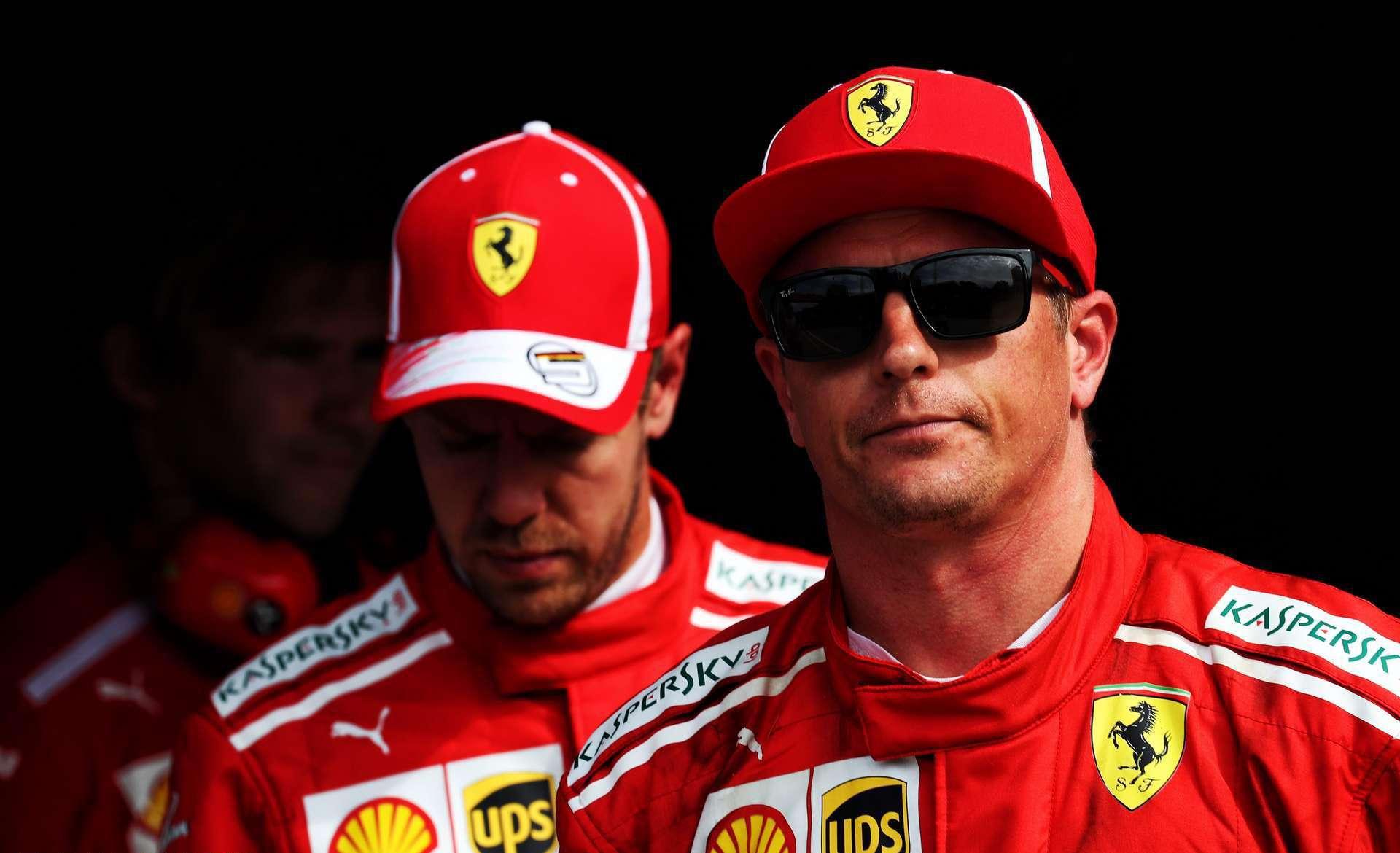 Raikkonen Vettel Ferrari Ferrari SF71H Italian GP F1 2018 post qualifying out of the car Photo Ferrari