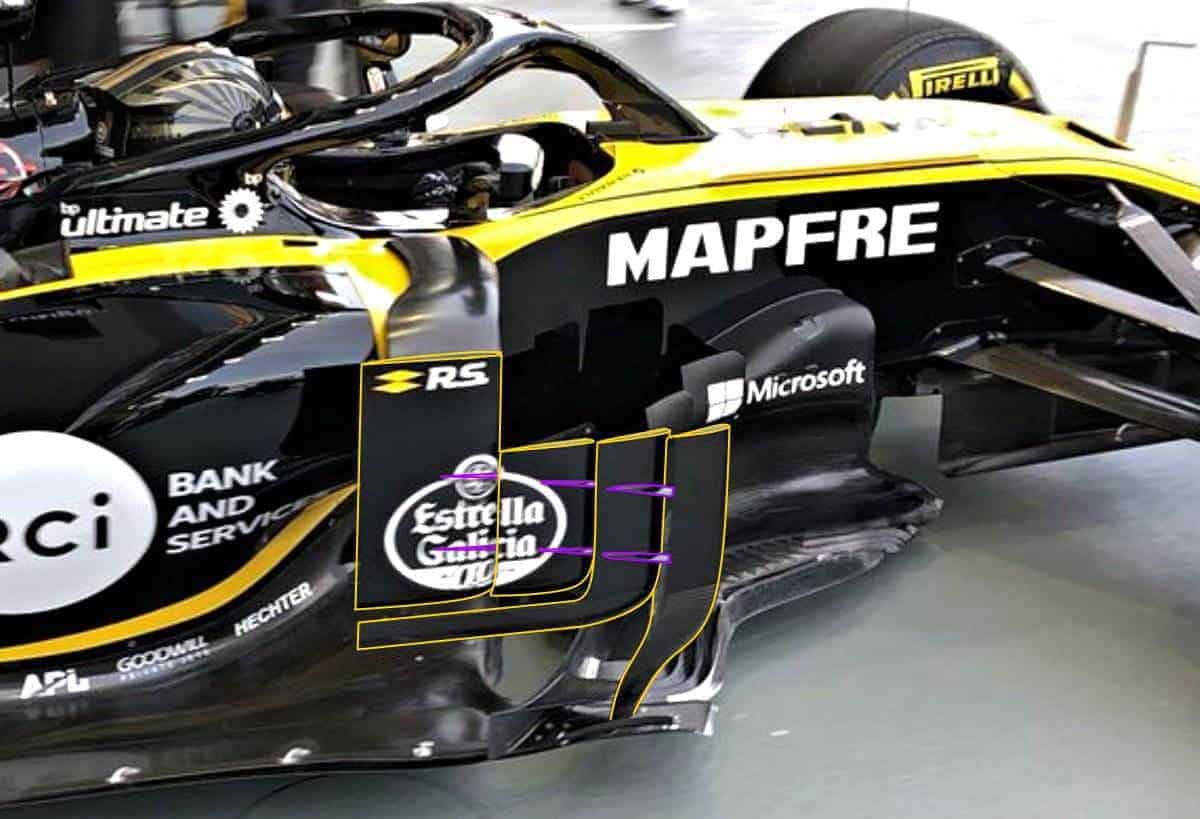 Renault RS18 Singapore GP F1 2018 bargeboards sidepod