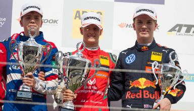 Robert Schwartzman Mick Schumacher and Dan Ticktum Nurburgring F3 2018 podium Photo Red Bull