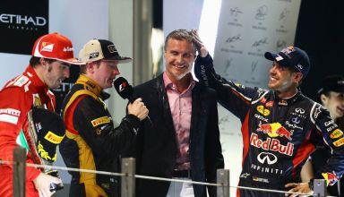 Abu Dhabi F1 2012 podium Raikkonen Alonso Vettel led by Coulthard Photo Red Bull