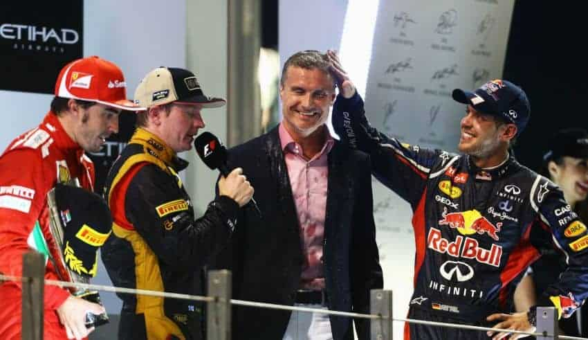 Abu Dhabi F1 2012 podium Raikkonen Alonso Vettel led by Coulthard Photo Red Bull
