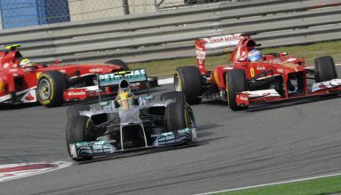 Hamilton leads Alonso and Massa Spanish GP F1 2013 Photo Mercedes