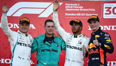 Japanese GP F1 2018 podium Hamilton Bottas Verstappen Photo Red Bull