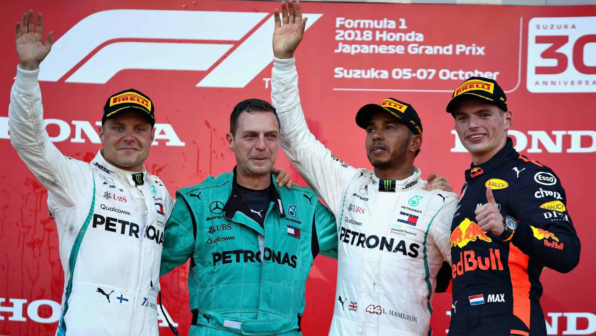 Japanese GP F1 2018 podium Hamilton Bottas Verstappen Photo Red Bull