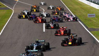 Japanese GP F1 2018 start Hamilton leads Bottas Verstappen Raikkonen Photo Red Bull