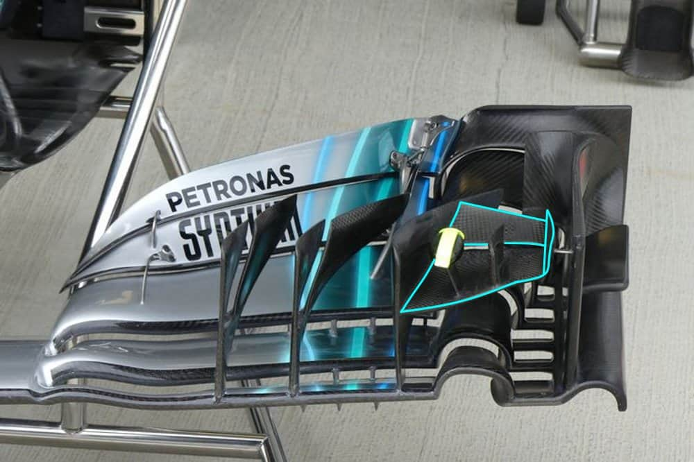Mercedes W09 front wing old cascade GP F1 2018 Photo Mercedes