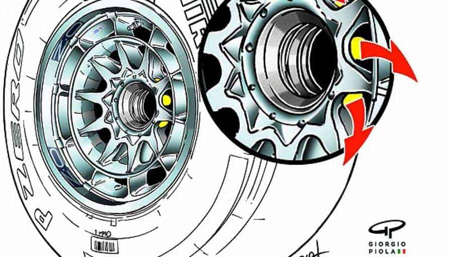 Red Bull RB8 front wheel design with holes in the middle Photo Giorgio Piola