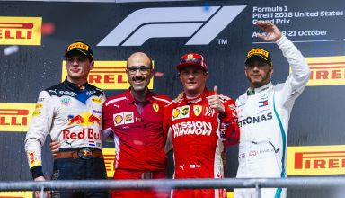 US GP F1 2018 podium Raikkonen Verstappen Hamilton Photo Ferrari