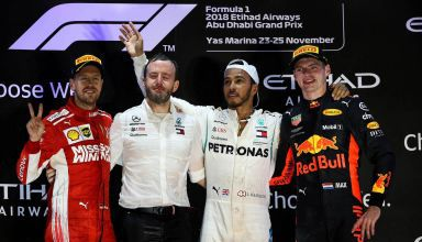 Podium ceremony Hamilton Vettel Verstappen Abu Dhabi F1 2018 Photo Daimler