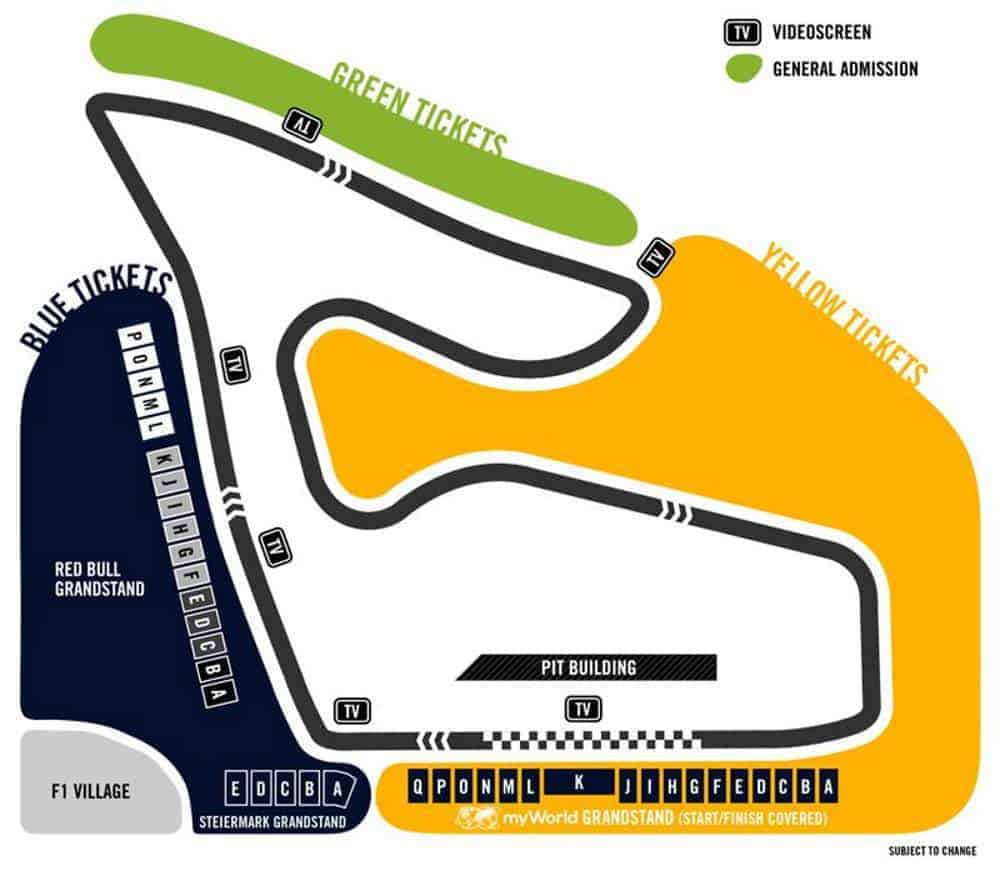 austrian gp f1 2019 ticket map circuit red bull ring