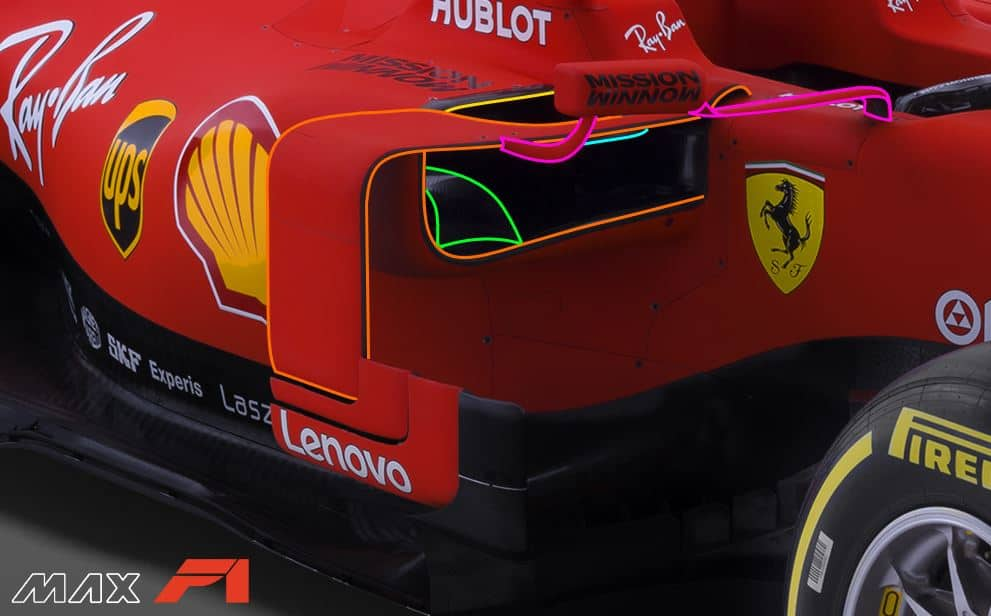 2019 F1 Ferrari SF90 bargeboards vanes sidepod vanes mirrors side angle view Photo Ferrari Edited by MAXF1net