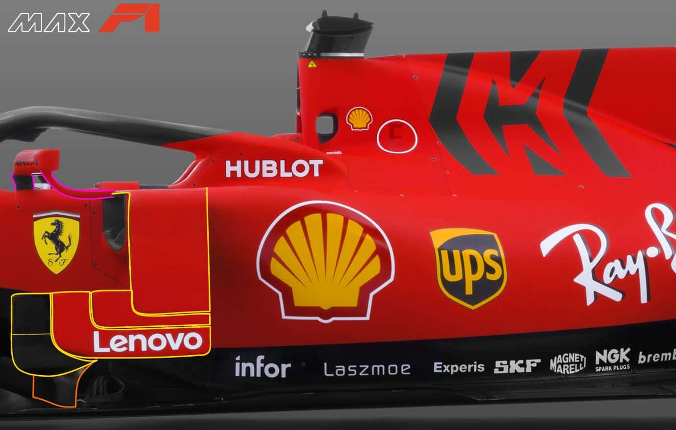 2019 F1 Ferrari SF90 bargeboards vanes sidepod vanes mirrors side view Photo Ferrari Edited by MAXF1net