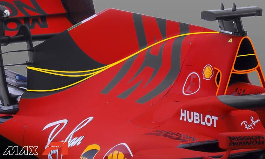 2019 F1 Ferrari SF90 engine cover airbox rear wing side angled view Photo Ferrari Edited by MAXF1net