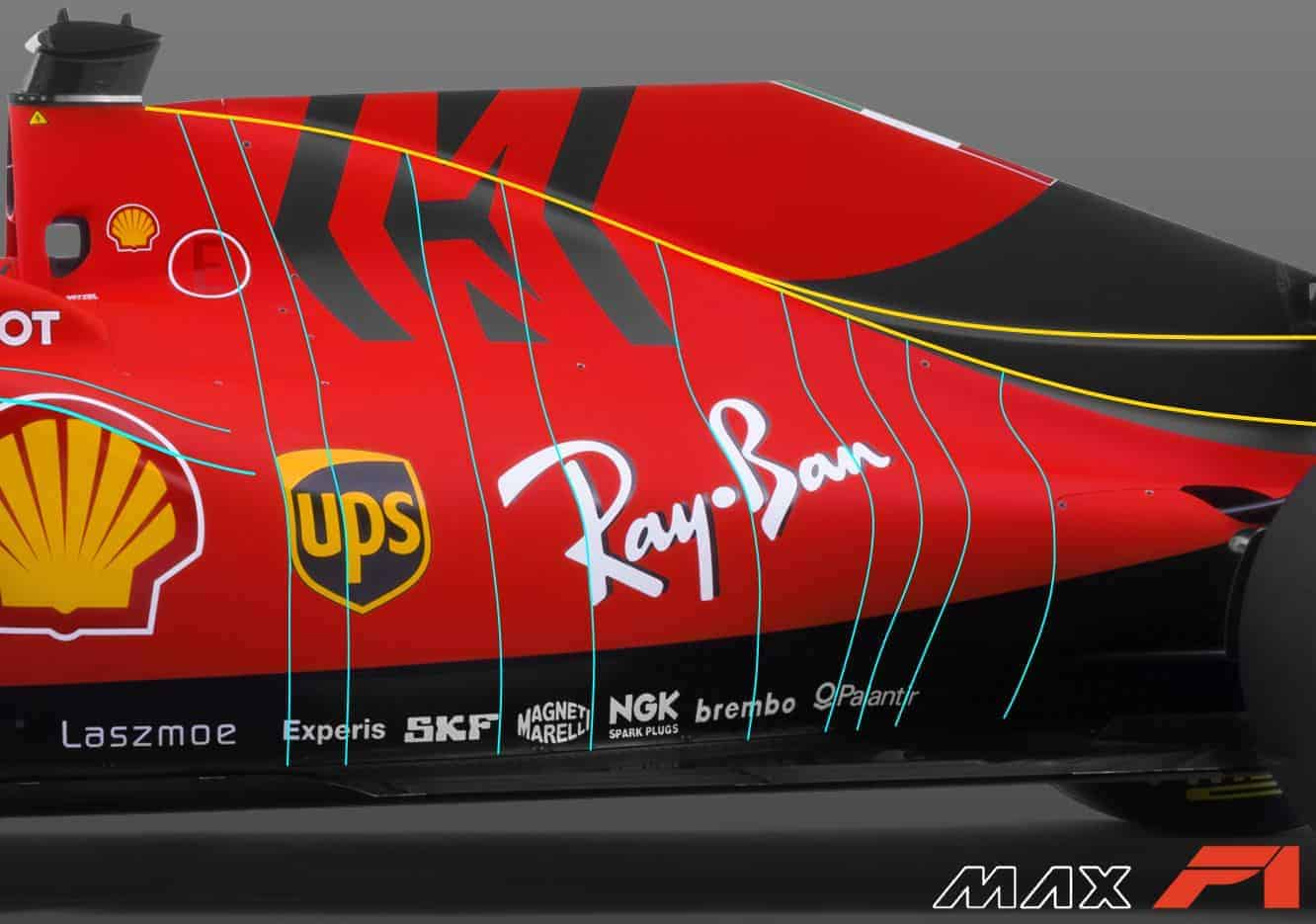 2019 F1 Ferrari SF90 engine cover sidepod side view Photo Ferrari Edited by MAXF1net