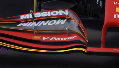 2019 F1 Ferrari SF90 front wing detail front view Photo Ferrari Edited by MAXF1net