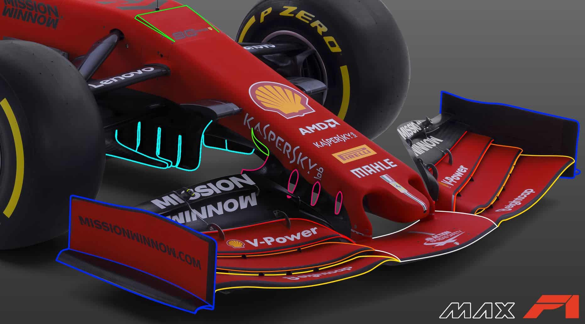 2019 F1 Ferrari SF90 front wing detail undernose vanes front suspension side view Photo Ferrari Edited by MAXF1net