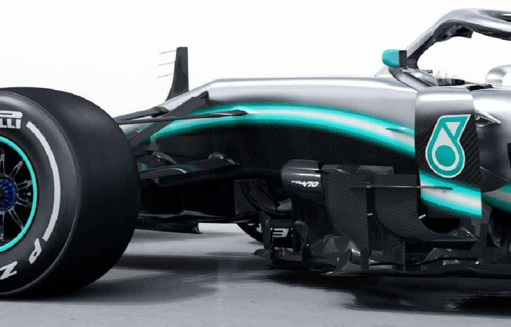 2019 F1 tech Mercedes F1 W10 EQ Power +area behind the front wheels bargeboards side Photo Daimler Edited by MAXF1net