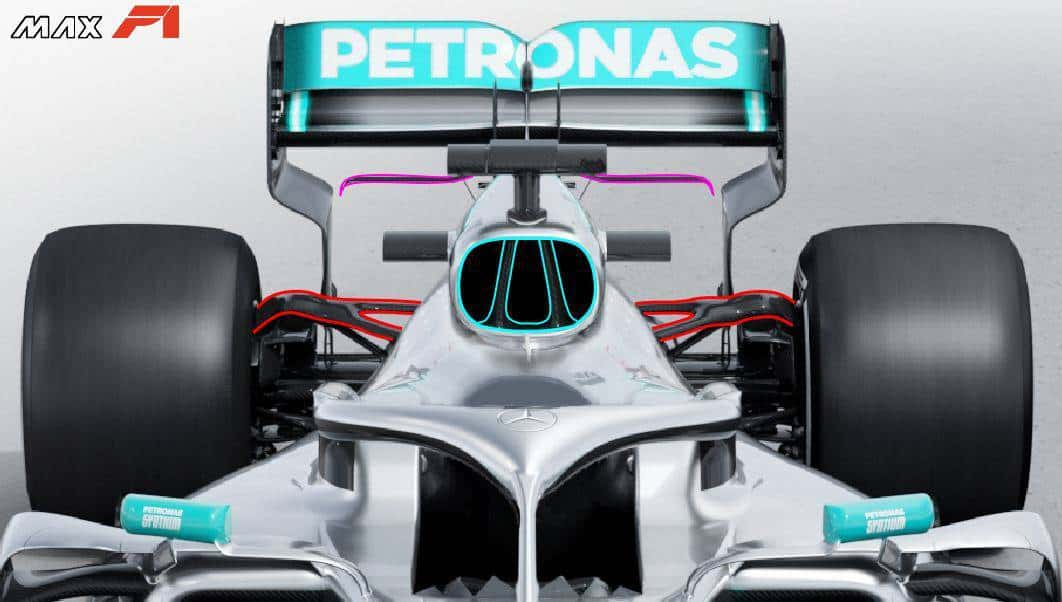 2019 F1 tech Mercedes F1 W10 EQ Power + engine airbox rear suspension Photo Daimler Edited by MAXF1net -
