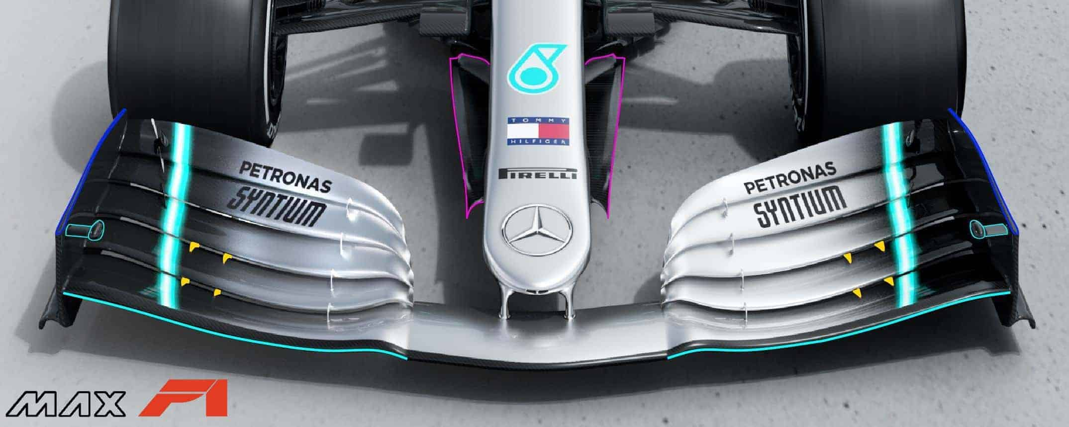2019 F1 tech Mercedes F1 W10 EQ Power + front wing and nose aero Photo Daimler Edited by MAXF1net -
