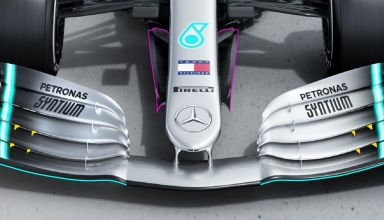 2019 F1 tech Mercedes F1 W10 EQ Power + front wing and nose aero Photo Daimler Edited by MAXF1net