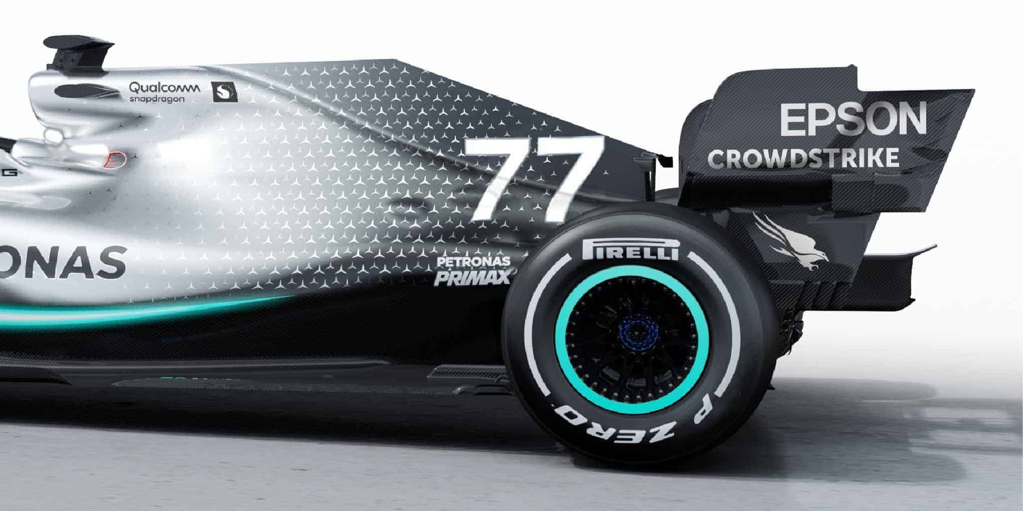 2019 F1 tech Mercedes F1 W10 EQ Power + rear end engine cover rear floor wing side Photo Daimler Edited by MAXF1net