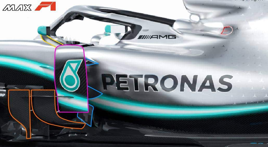 2019 F1 tech Mercedes F1 W10 EQ Power +sidepod area bargeboards Photo Daimler Edited by MAXF1net -