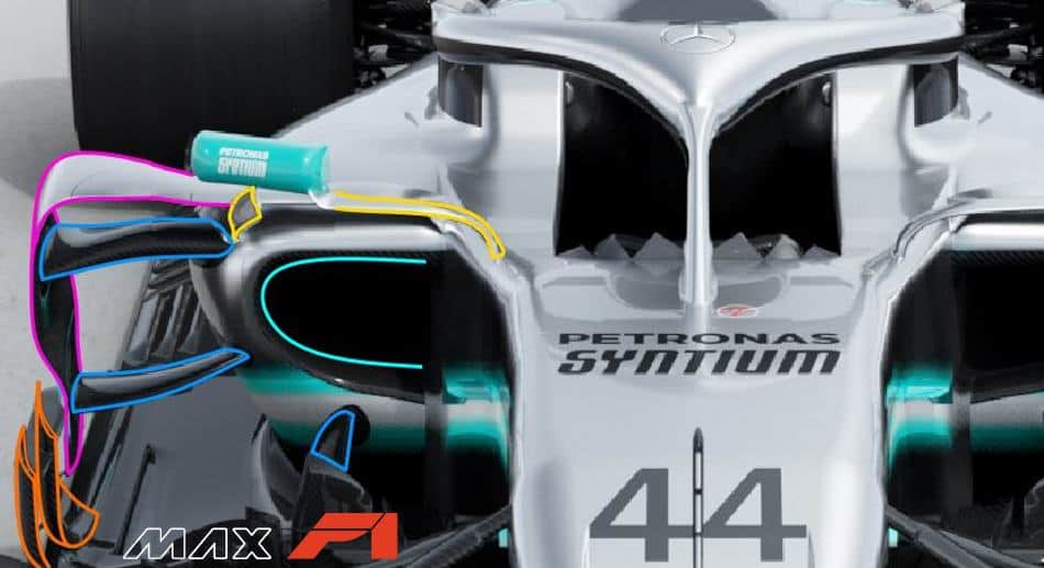 2019 F1 tech Mercedes F1 W10 EQ Power +sidepod area bargeboards top front Photo Daimler Edited by MAXF1net -