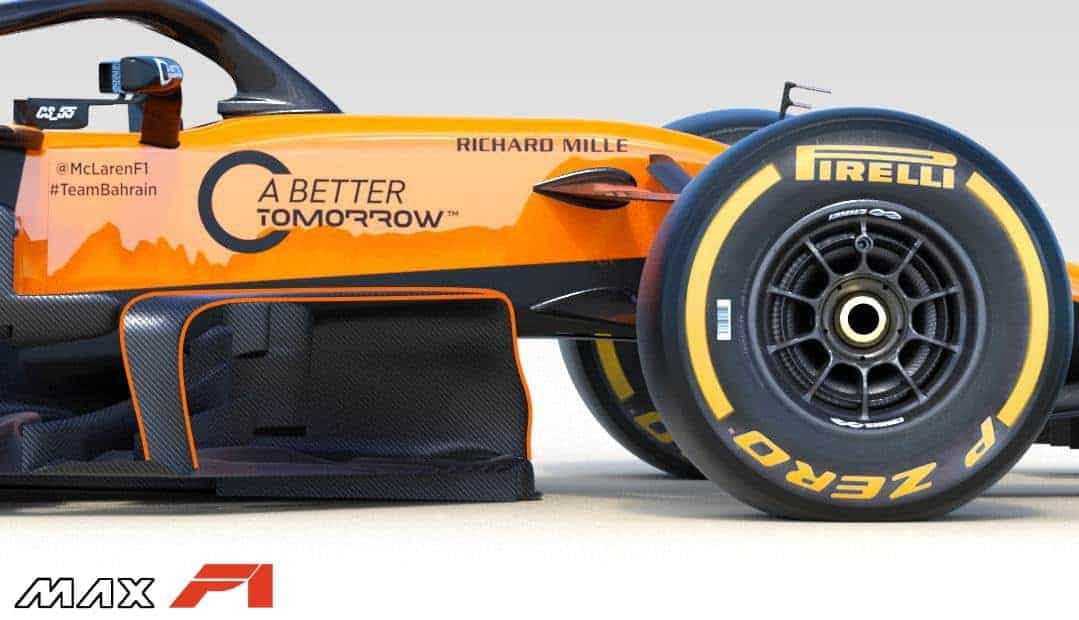 2019 McLaren MCL34 area behind the front wheels bargeboards Photo McLaren Edited by MAXF1net