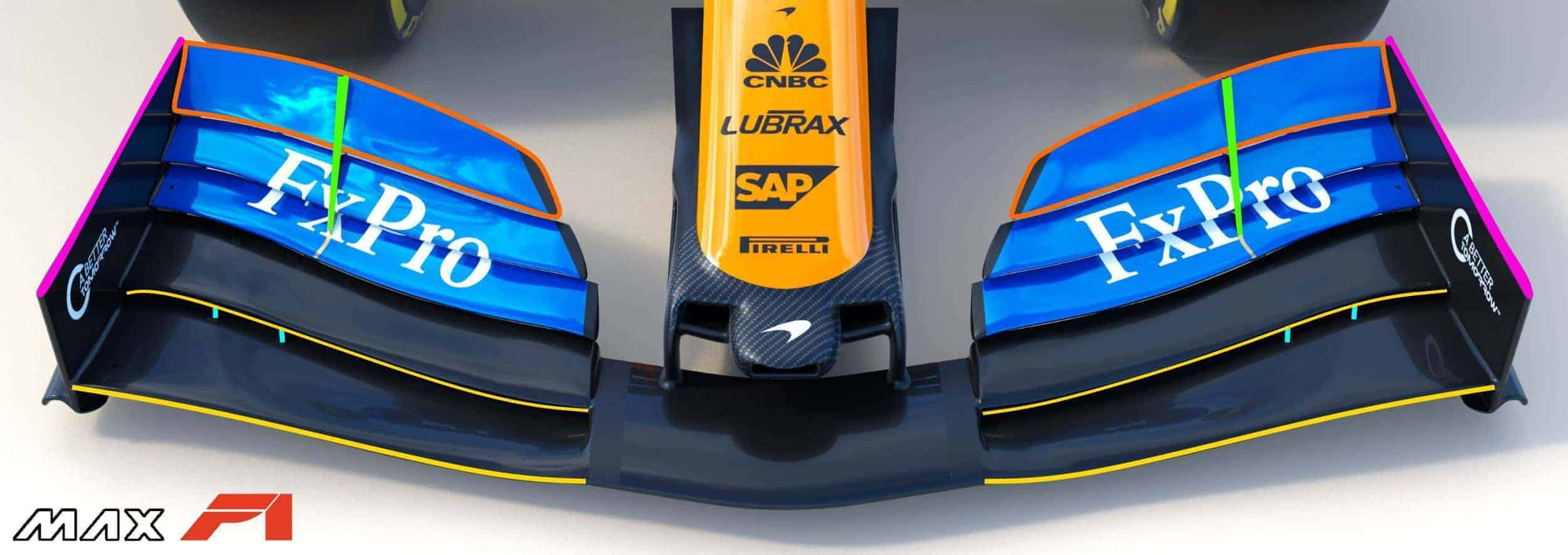 2019 McLaren MCL34 front wing Photo McLaren Edited by MAXF1net