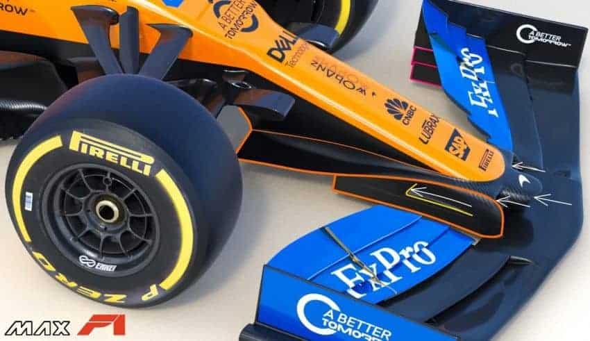 2019 McLaren MCL34 front wing pillars area Photo McLaren Edited by MAXF1net