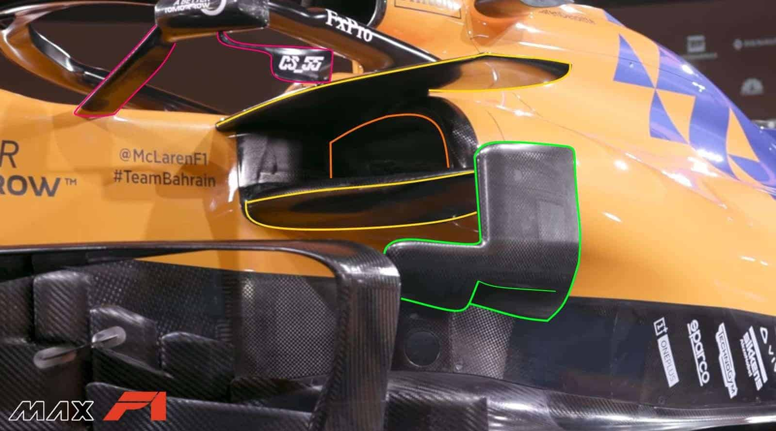 2019 McLaren MCL34 sidepod area inlet bargeboards detail Photo McLaren Edited by MAXF1net