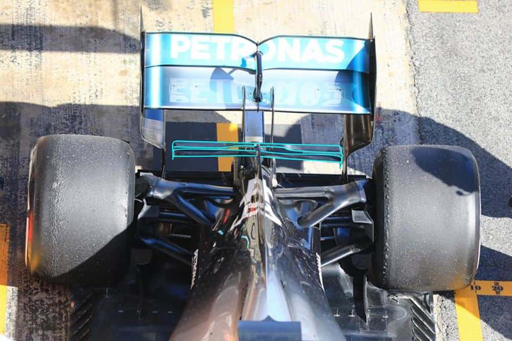 2019 Mercedes F1 W10 new T-wing top shot Barcelona test 2 Day 1 Photo Mercedes Edited by MAXF1net
