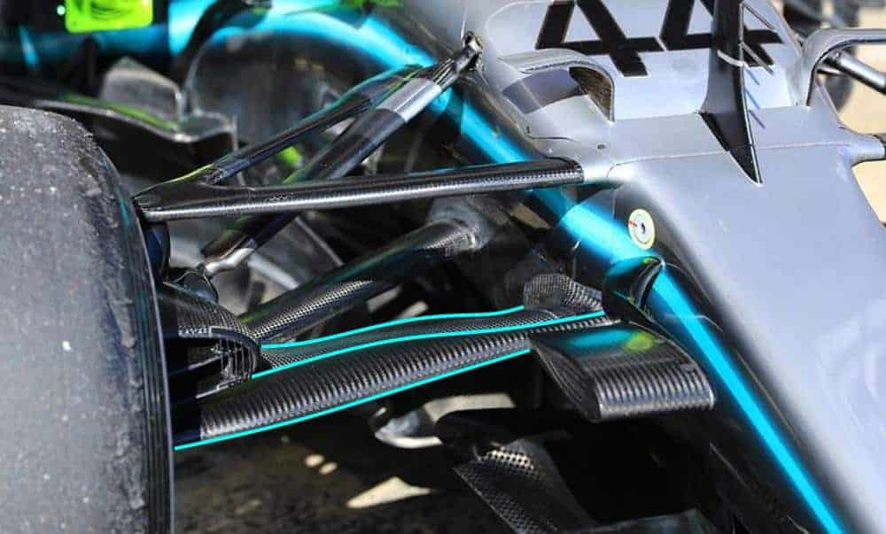2019 Mercedes F1 W10 new front wishbone Barcelona test 2 Day 1 Photo Mercedes MAXF1net