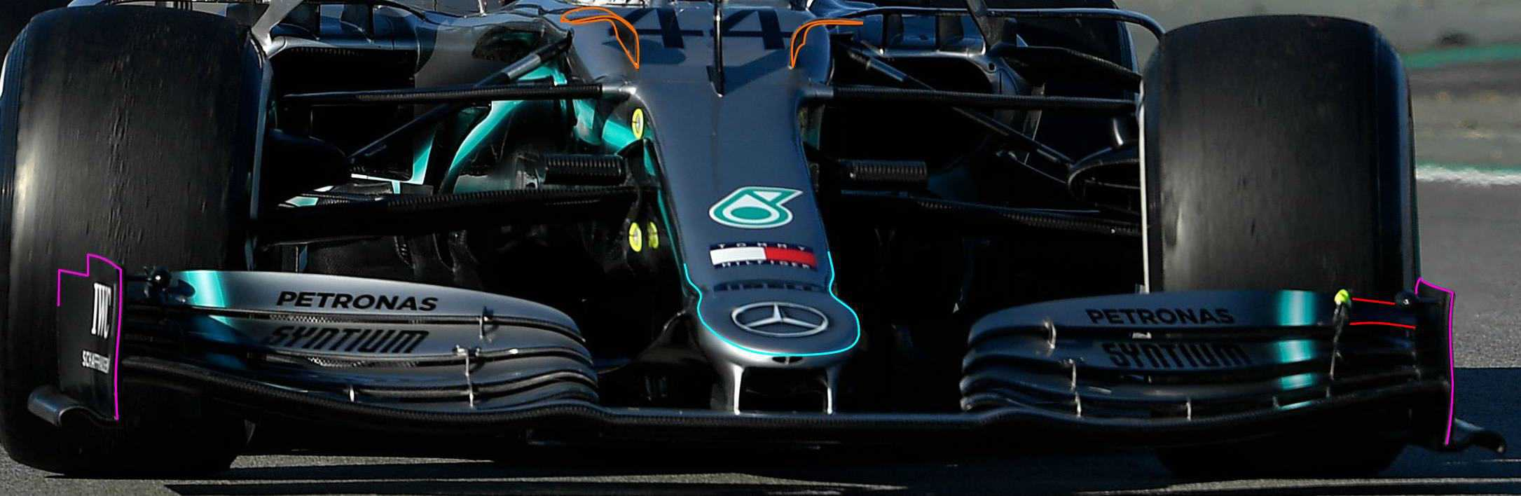 2019 Mercedes F1 W10 new nose cockpit ears front wing endplates Barcelona test 2 Day 1 Photo Mercedes MAXF1net