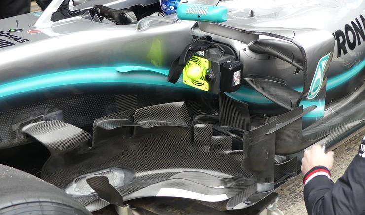 2019 Mercedes F1 W10 old bargeboards Photo Mercedes MAXF1net