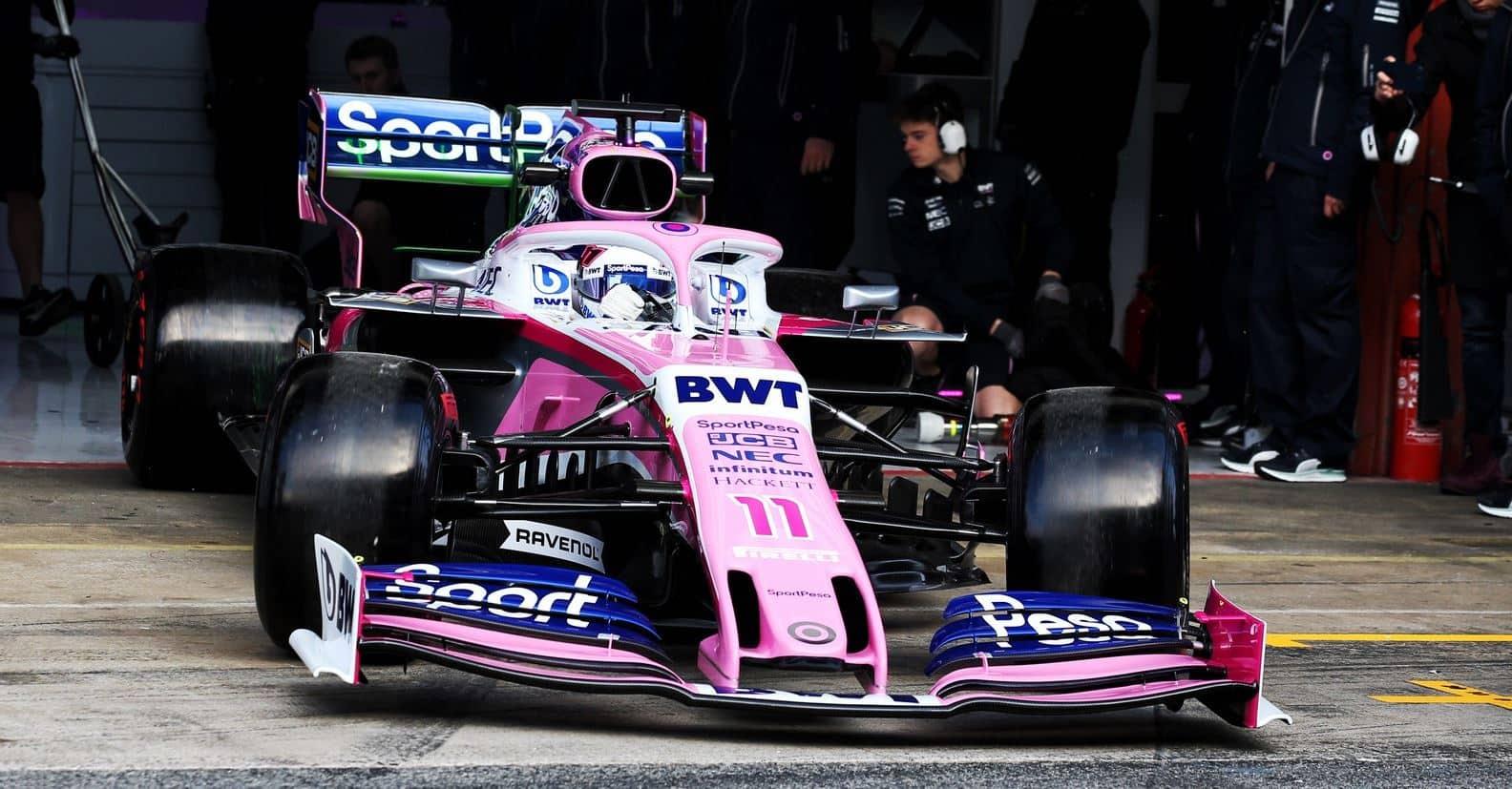 2019 Racing Point F1 car Barcelona pitlane