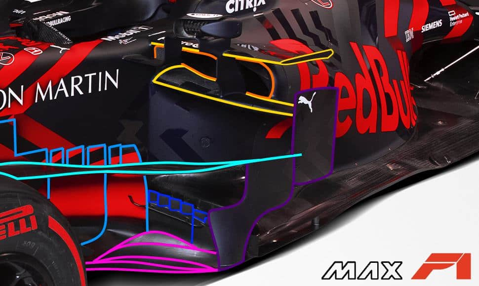 2019 Red Bull RB15 Honda launch pictures area behind front wheels and sidepod area side Photo Red Bull Edited by MAXF1net