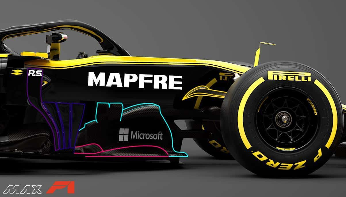 2019 Renault RS19 area behind the front wheels side view Photo Renault edited by MAXF1net