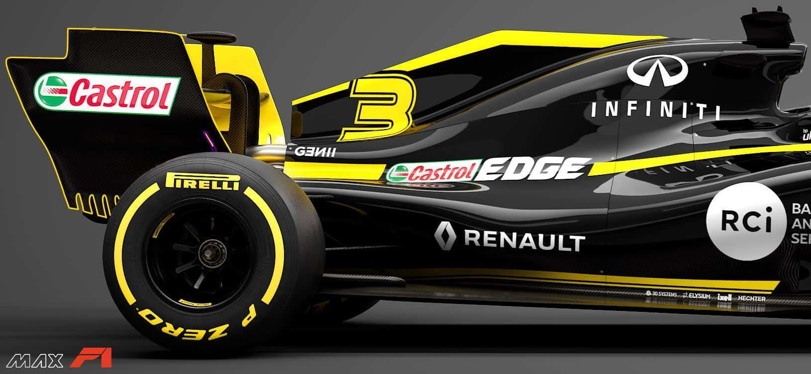 2019 Renault RS19 rear wing rear end engine cover side Photo Renault edited by MAXF1net