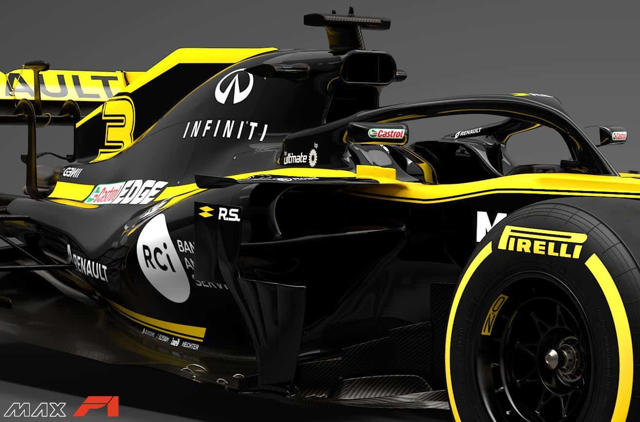 2019 Renault RS19 sidepod inlets and engine cover side angled view Photo Renault edited by MAXF1net
