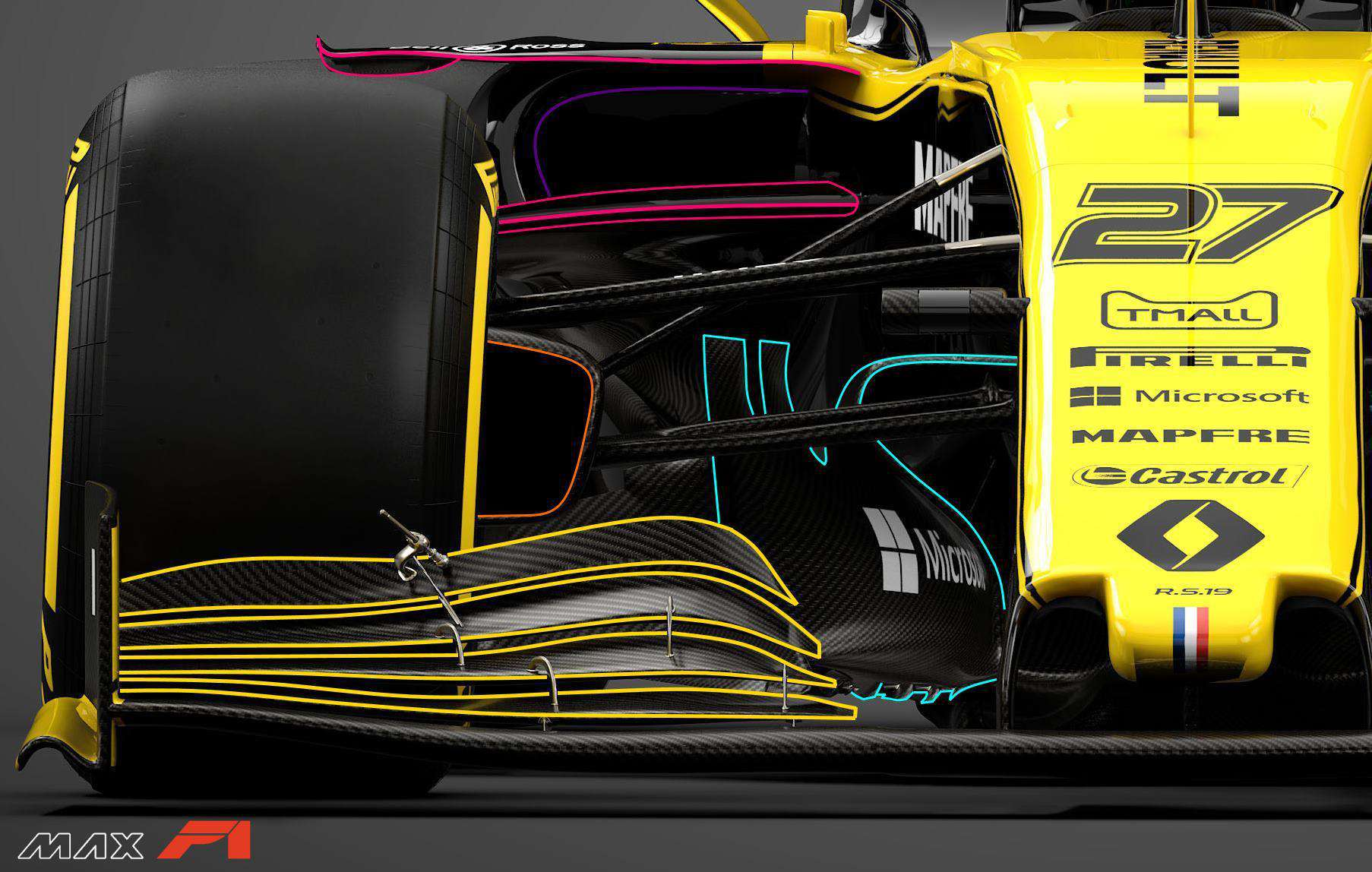 2019 Renault RS19 sidepod inlets front suspension bargeboards front view Photo Renault edited by MAXF1net