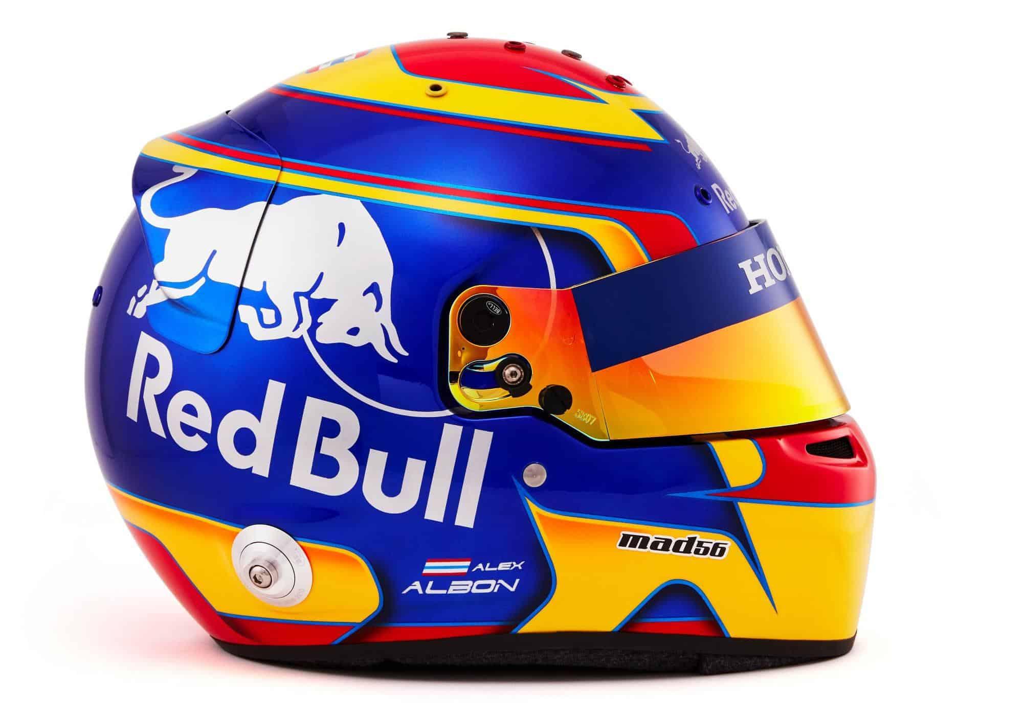 Alexander Albon Toro Rosso Honda 2019 F1 helmet side